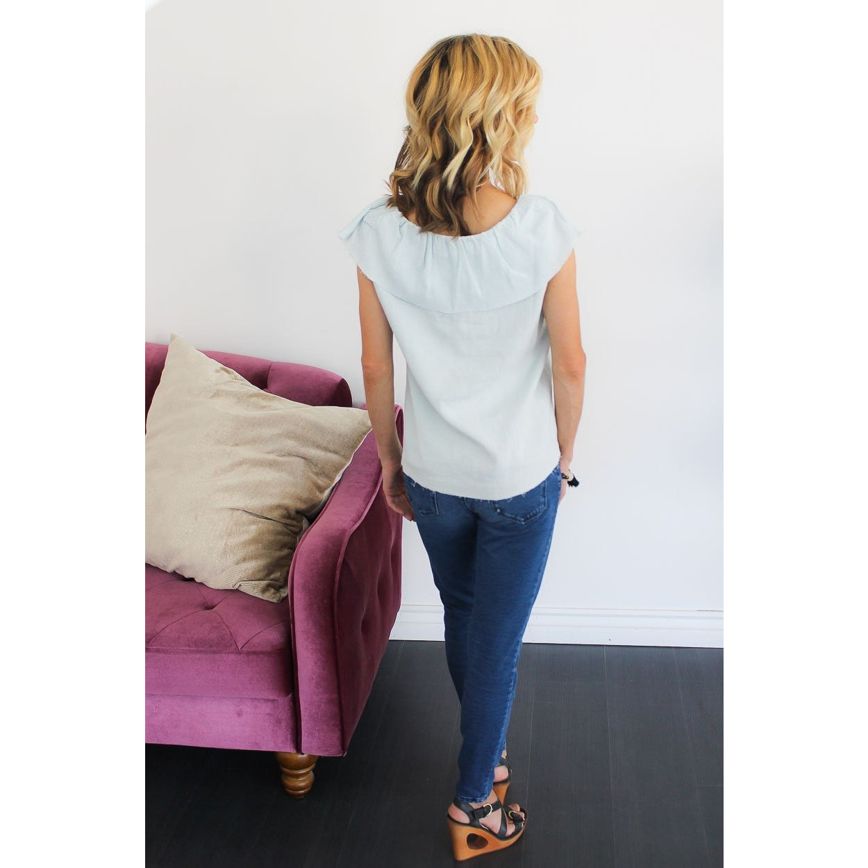 Ruffled Linen Raw Edge Top