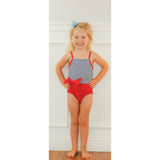 Macie Girls Striped One Piece with Bow