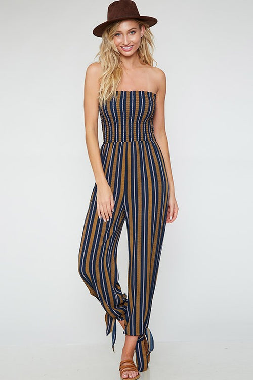 Navy & Mustard Striped Jumpsuit