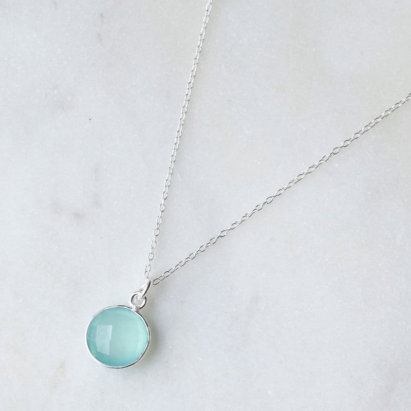 AQUA CHALCEDONY DROP NECKLACE