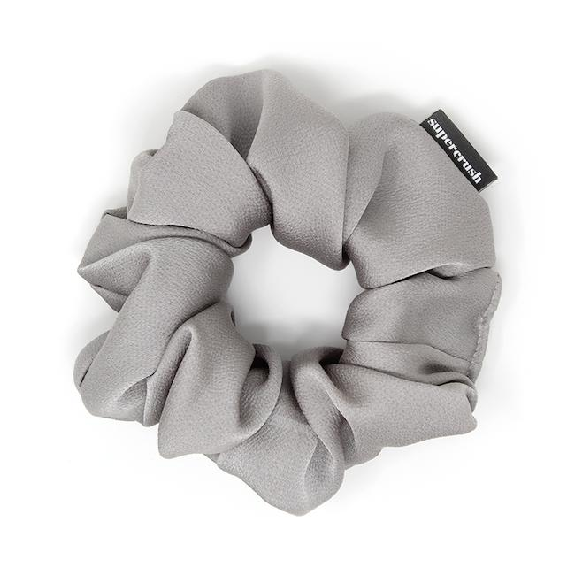 SILVER SATIN SCRUNCHIE