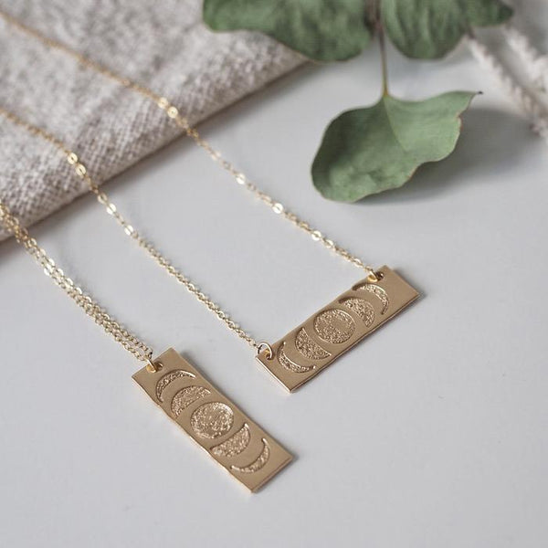 MOON PHASE BAR NECKLACE - GOLD FILL