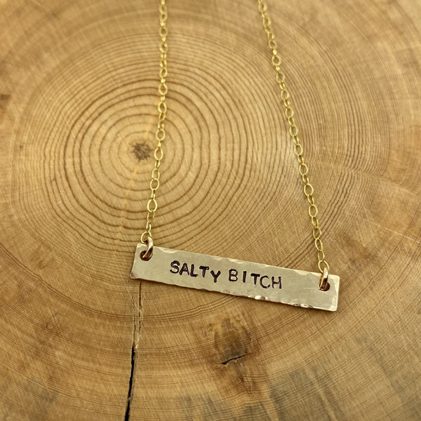 SALTY BITCH PETITE BAR NECKLACE - GOLD