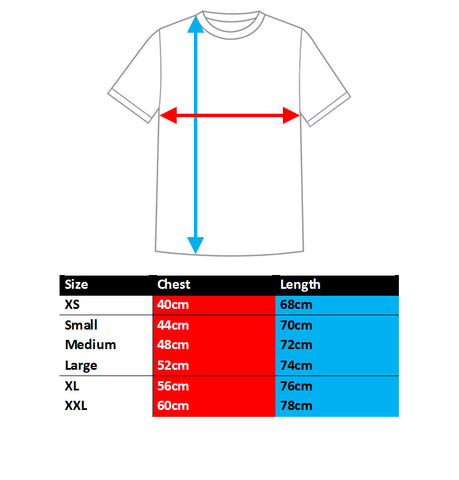 BQR Bold Flanker tee sizing chart