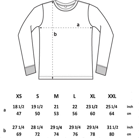 BQR rose long sleeve tee sizing chart