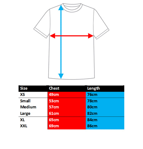 BQR Hoodies sizing chart