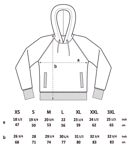 BQR rose hoodie sizing chart
