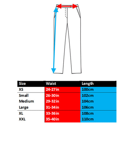BQR joggers sweatpants sizing chart