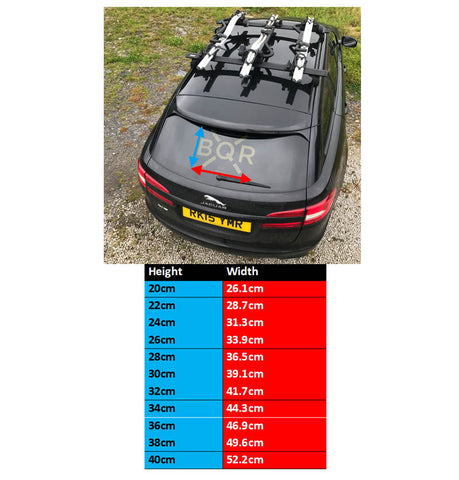 BQR WINDSCREEN STICKER SIZING CHART