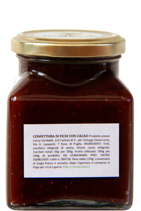 Fig jam with whole cocoa, 370 g - Selvanuova