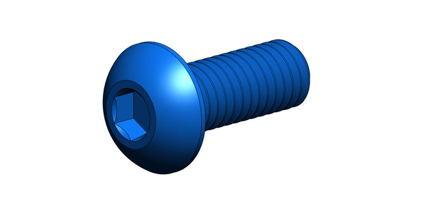 M3 BUTTON HEAD SCREW (BLUE ALUMINUM X 8MM LONG)