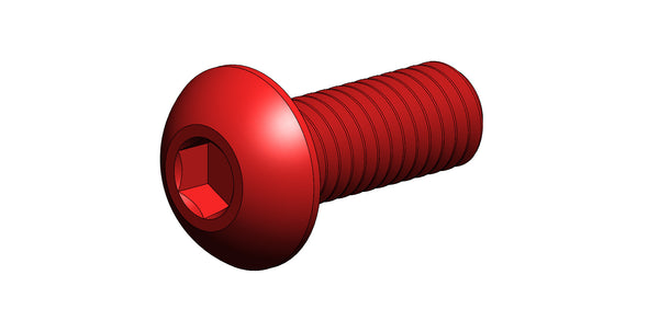 M3 BUTTON HEAD SCREW (RED ALUMINUM X 8MM LONG)