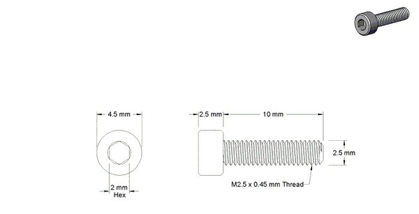 M2.5 X 10MM SOCKET HEAD SCREW (STEEL)