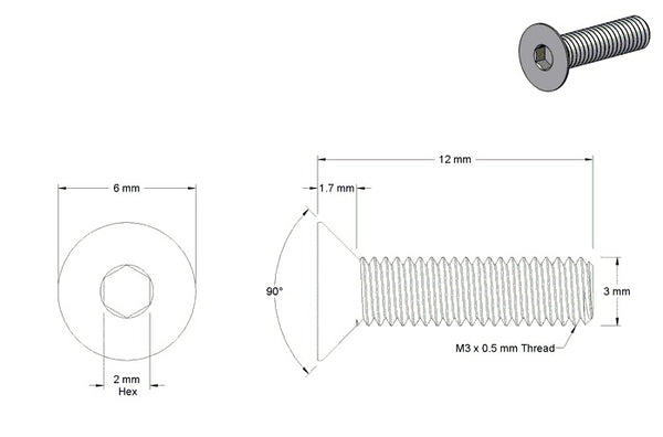 M3 X 12MM FLAT HEAD HEX SCREW (STEEL)