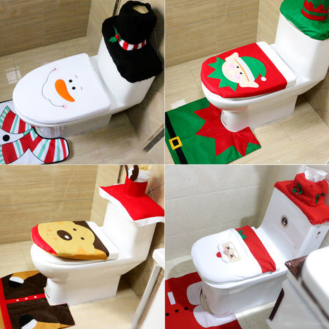 Sale New Year Christmas Home Decoration For Toilet 3pcs Lot Seat Cover Rug Bathroom Santa