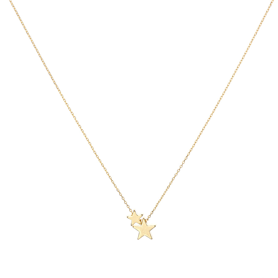 Gold stacked star necklace