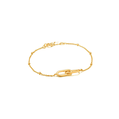 Link and Bead Gold Bracelet