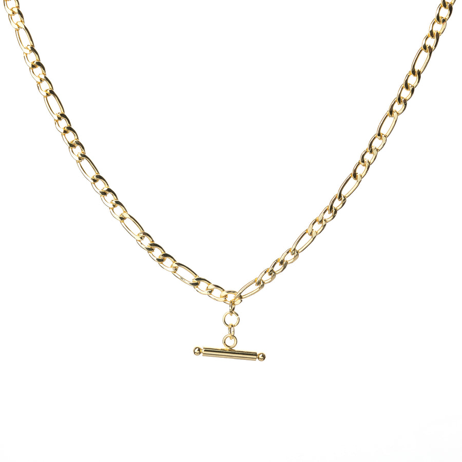 T-bar necklace on a figaro chain