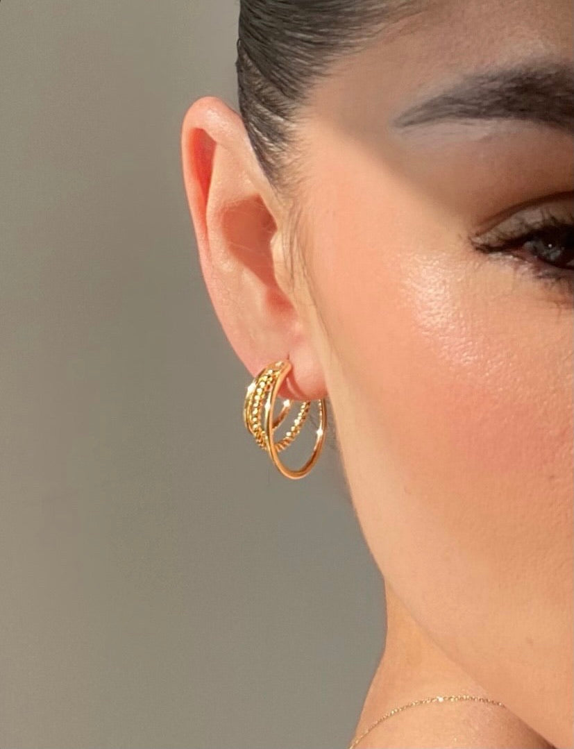 Twist Triple Layer Hoop Earring