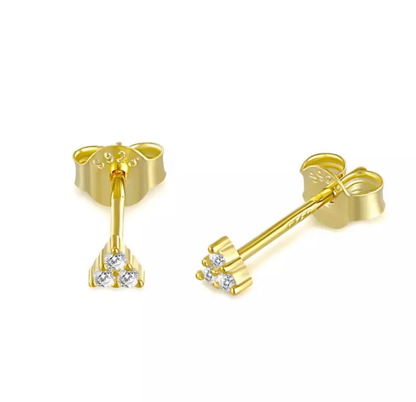 Gold pin stud earrings