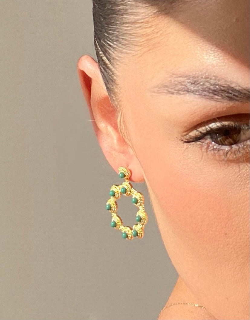 Baroque Gem Hoop Earring - Green