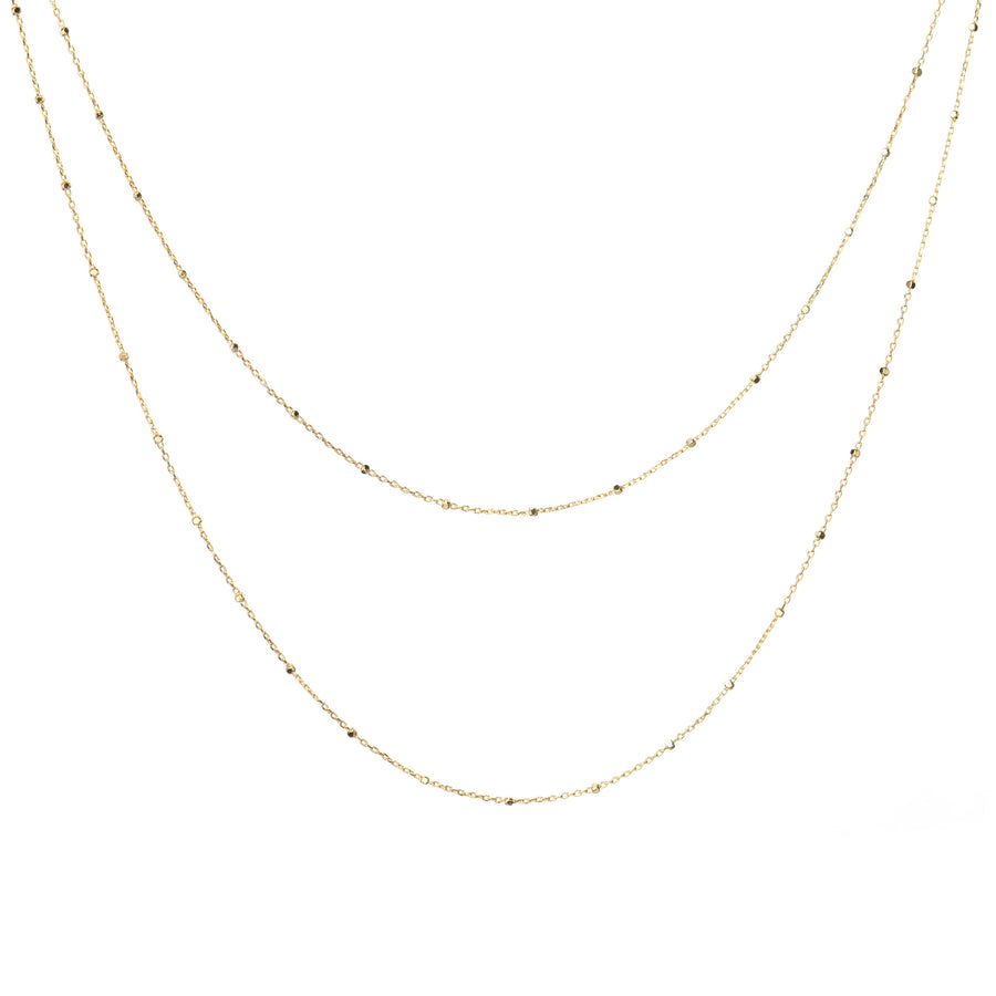 Multi layer gold beaded chain