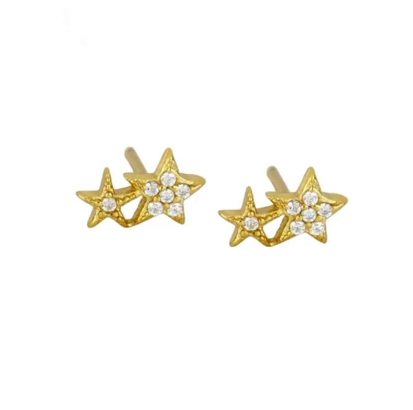 Double Star Stud  - Gold