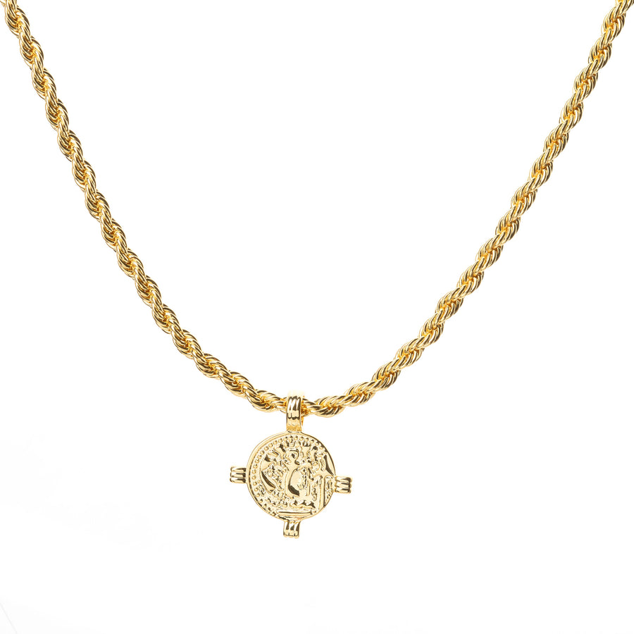 greek roman gold coin necklace