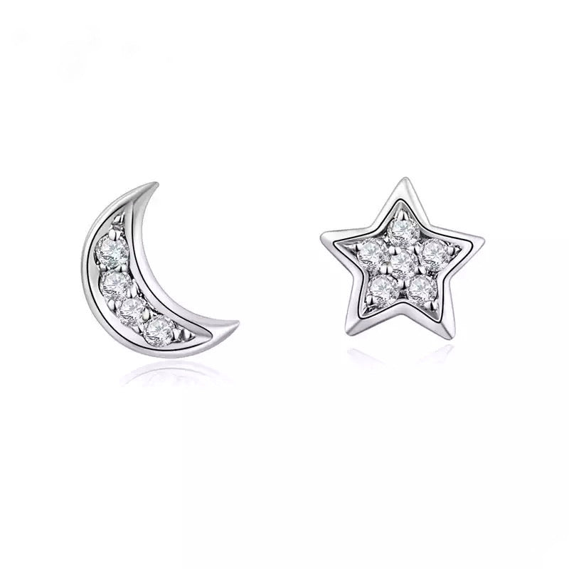 Moon and Star Stud - Silver
