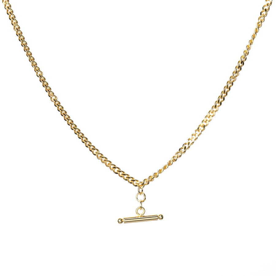 Tilly Sveaas Gold T-Bar Curb Link Necklace