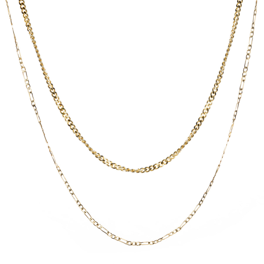 Gold Curb and Figaro Layering Necklace