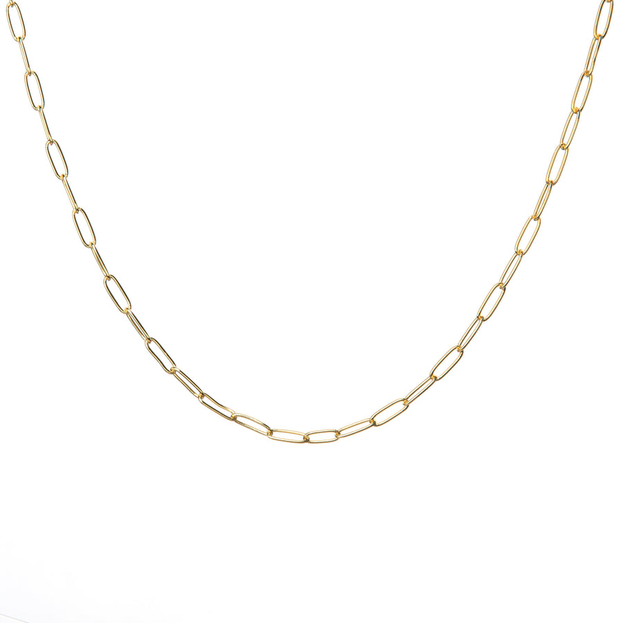 Paperclip link necklace in gold