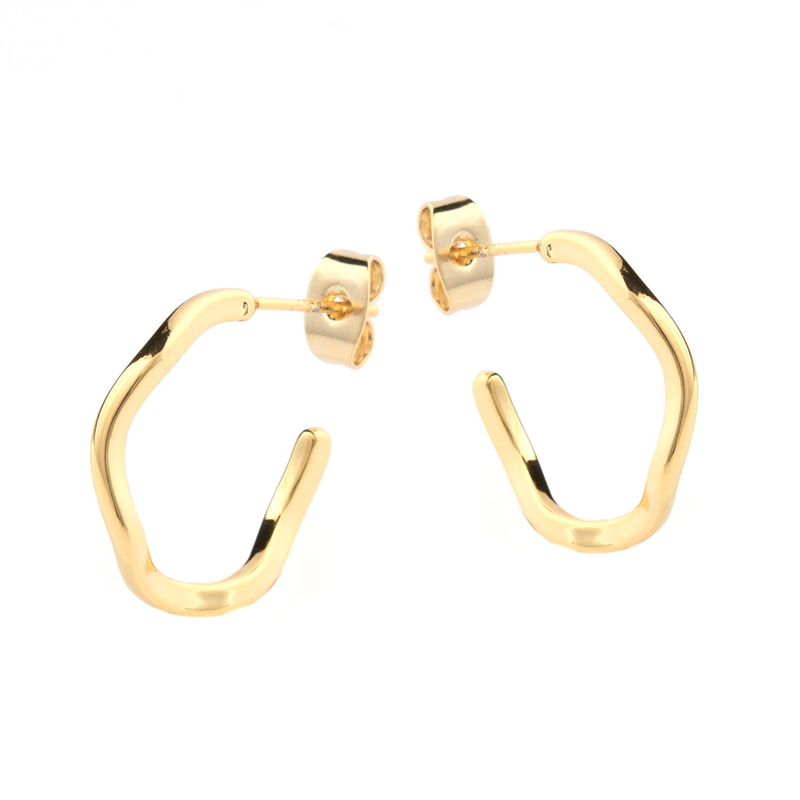 small wave gold hoop