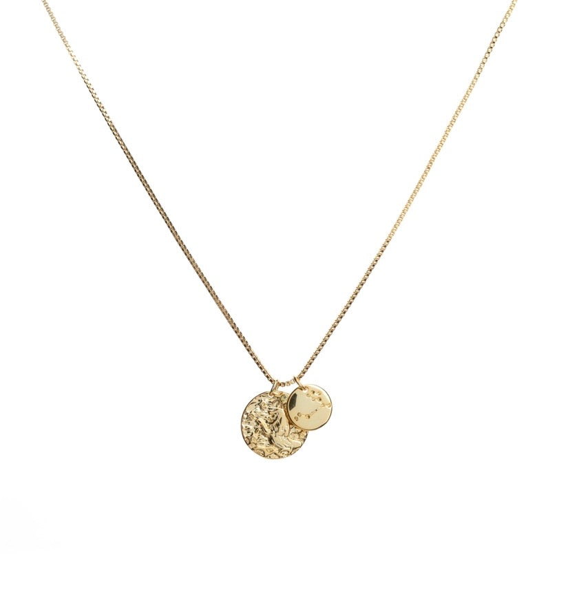 Leo zodiac and constellation necklace