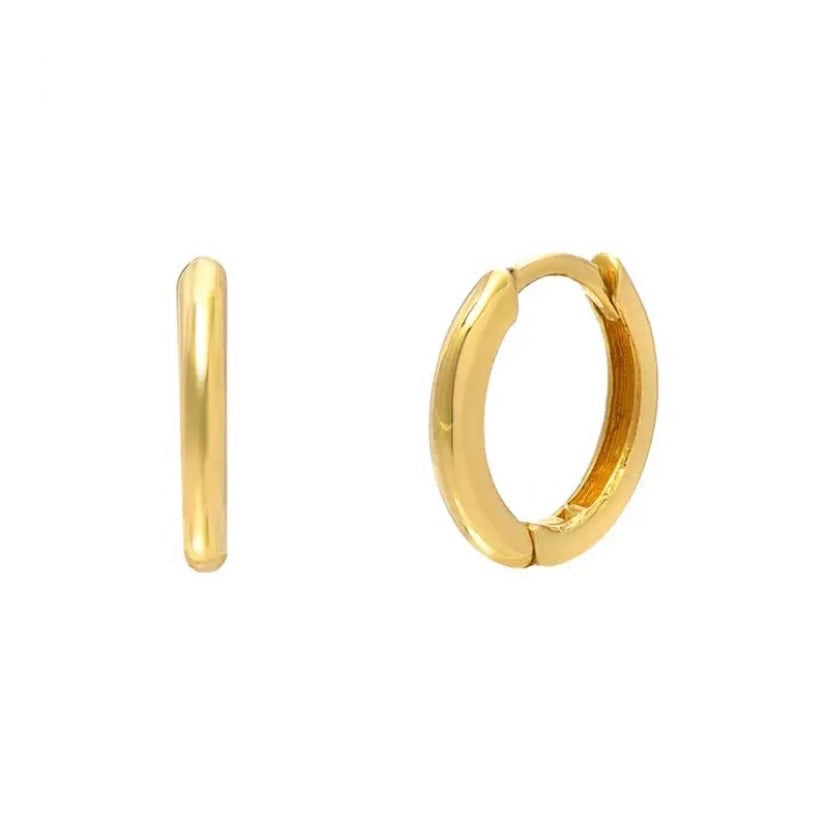 plain and simple gold huggie hoop