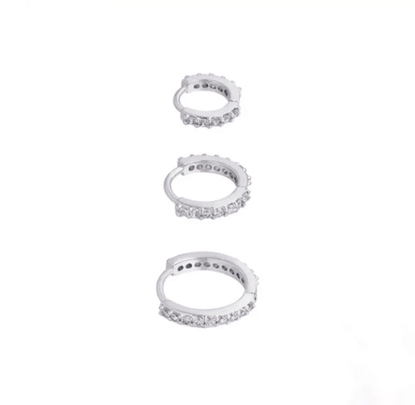Trio Diamante Hoop Set Silver