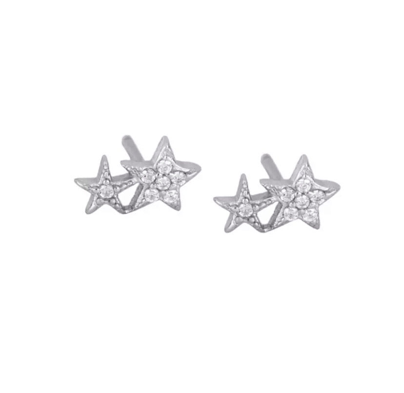 Double Star Stud  - Silver
