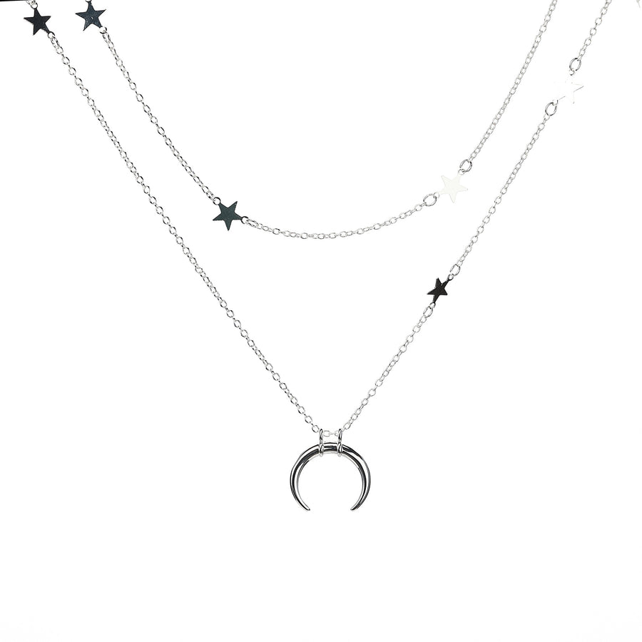 Crescent and Star Layered Necklace - Silver