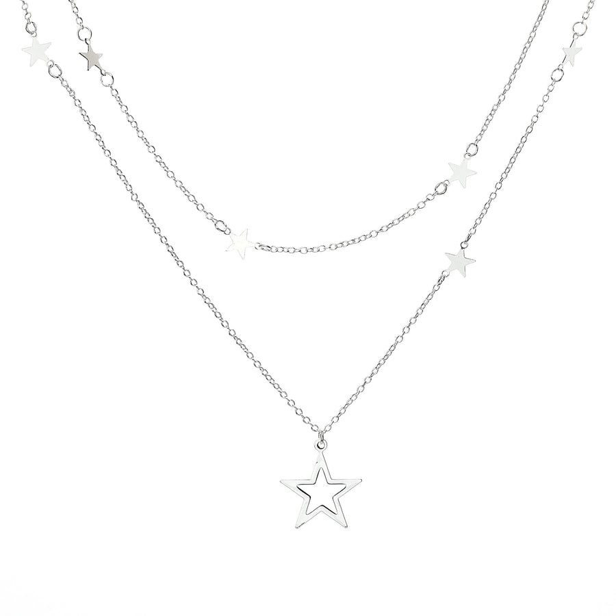Star Layered Necklace - Silver