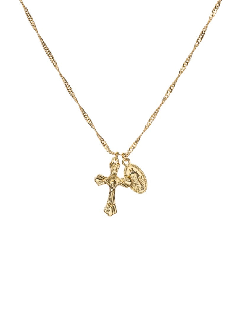 Cross and coin pendant