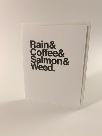 Rain & Coffee & Salmon & Weed card