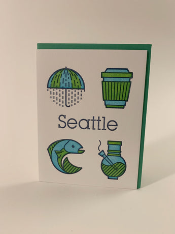 Rain & Coffee & Salmon & Weed icons card