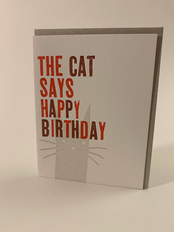 The Cat Says Happy Birthday card