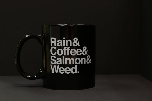 rain coffee salmon weed mug
