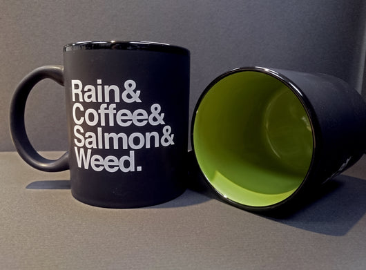 Rain & Coffee & Salmon & Weed. Matte Black & Green ~ Mug