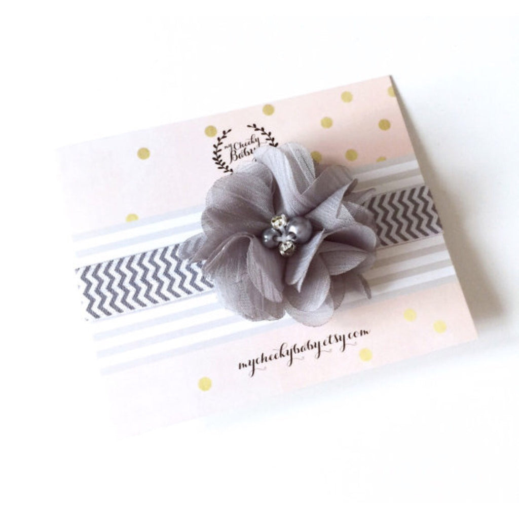 Grey Chevron Elastic Headband with Chiffon Flower