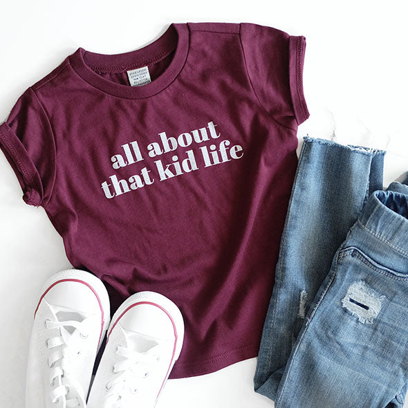 "2 PC Combo - Maroon ""All about that mom/kid life"" Adult and Child T-Shirt Set"