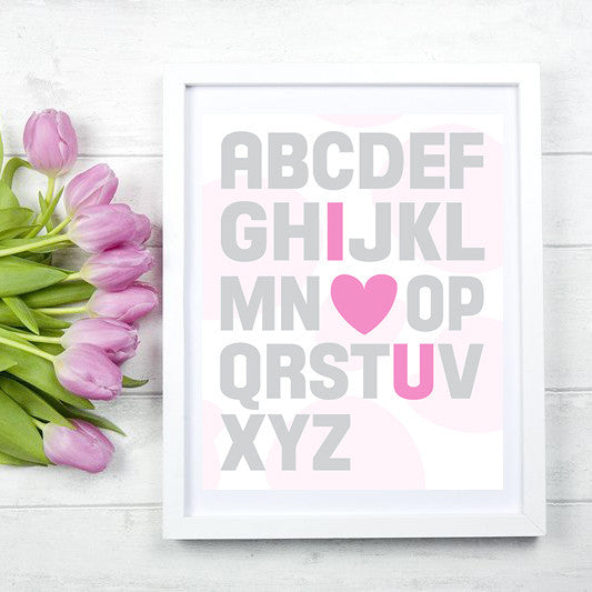 Alphabet Pink Girls Bedroom or Nursery Print