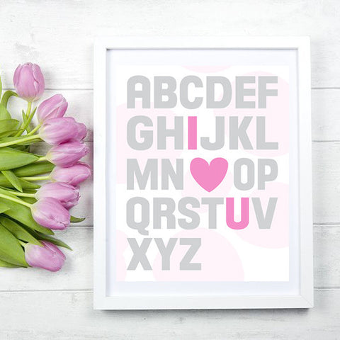 SALE Alphabet Pink Girls Bedroom or Nursery Print