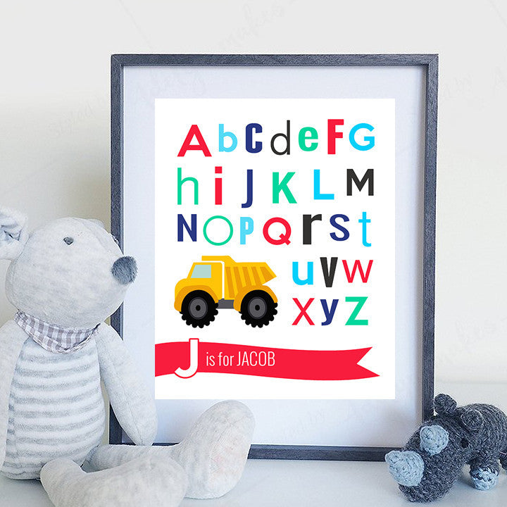 Alphabet Truck Child's Bedroom or Nursery Print - Personalize with your chid's name